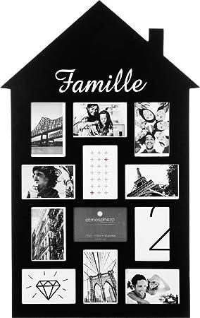 Pêle Mêle 12 Photos   Cadre Multi Photos En Forme De Maison   Noir