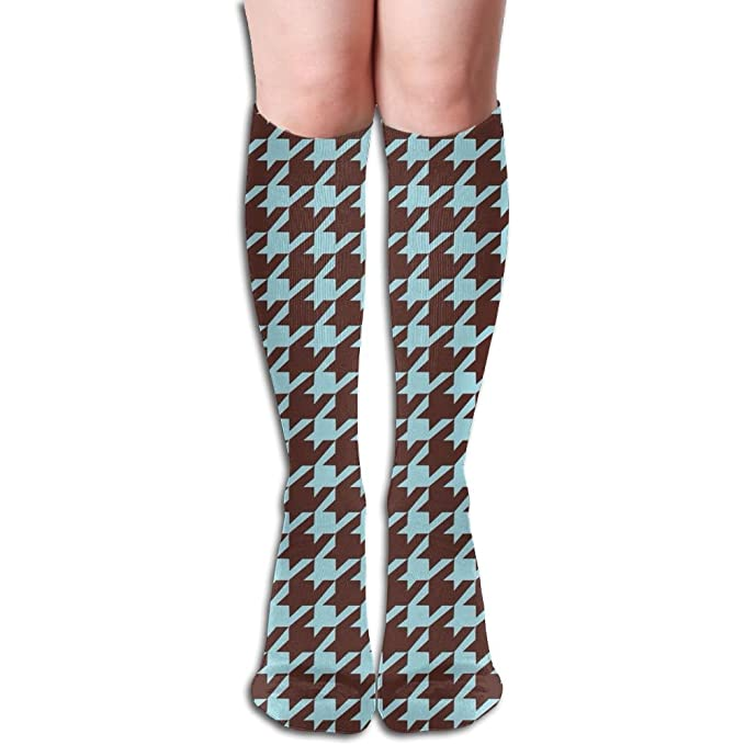 Amazon.com: Crazy Houndstooth Pattern Knee High Socks Running Thigh ...