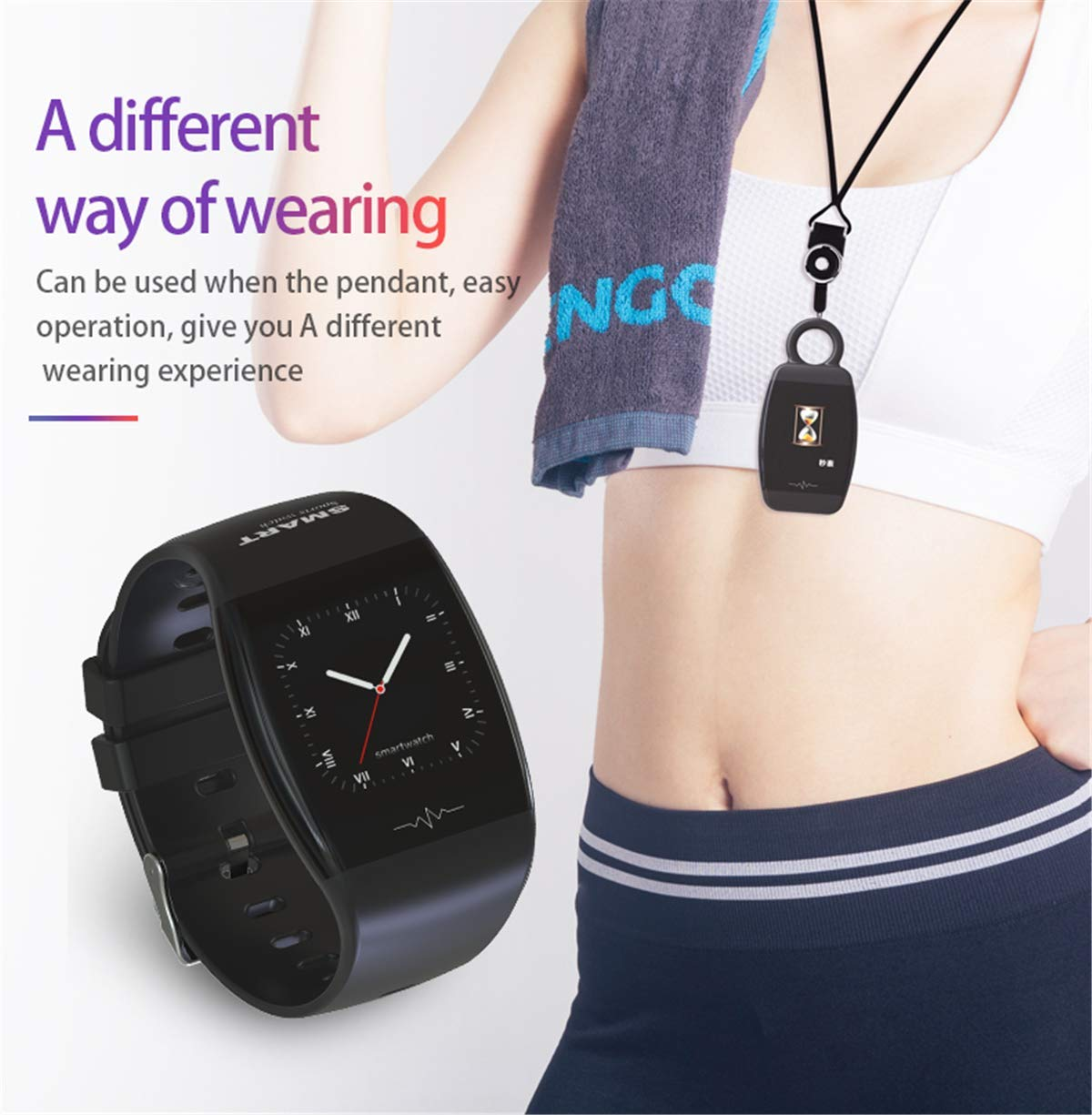 Smartklocka, blodtryck pulsmätare vattentätt armband, sport fitness spårare smart klocka för kvinnor män SVART