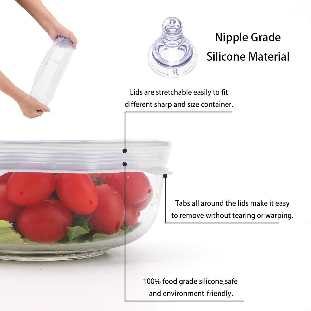 Tapas elásticas de silicona Ohomi para cuencos, sartenes, tazas y tarros, cubiertas reutilizables para alimentos, 6 paquetes de varios tamaños, ...