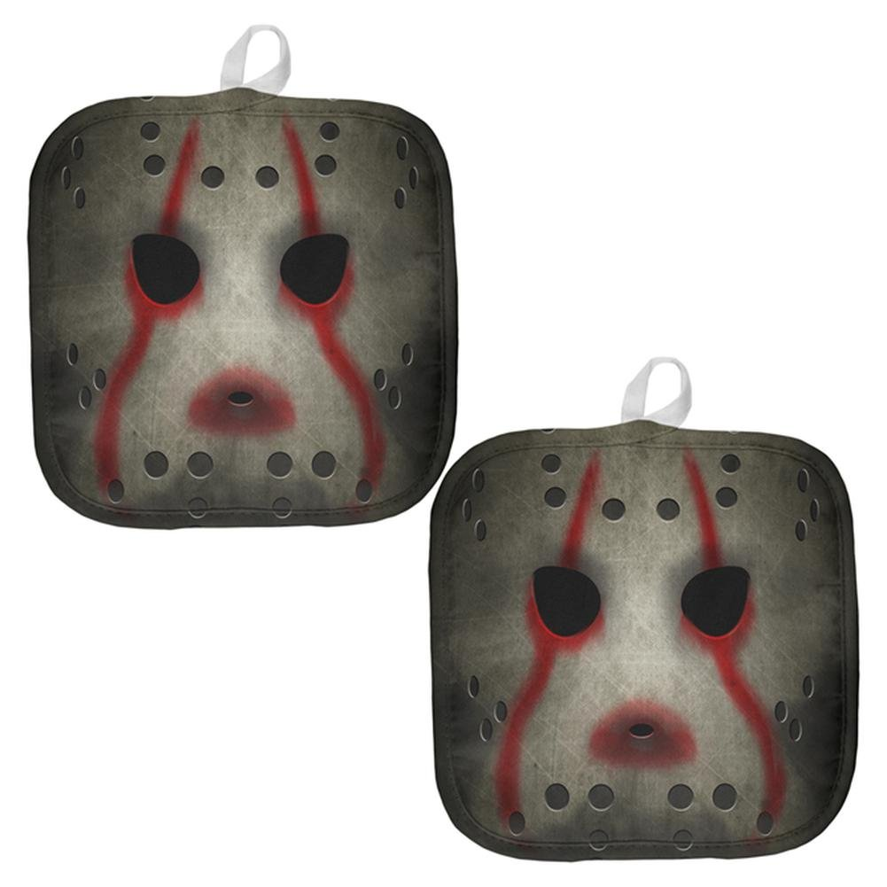 Halloween Horror Movie Hockey Mask All Over Pot Holder (Set of 2) Multi Standard One Size
