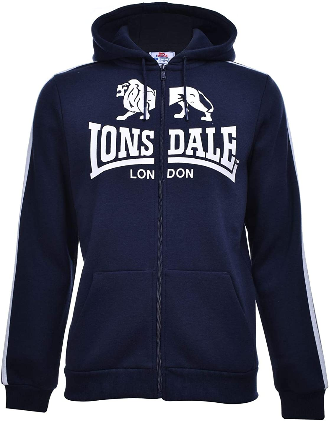 Mens Lonsdale Long Sleeves Soft Fleece Full Zip Hoodie Sizes from S to XXXXL