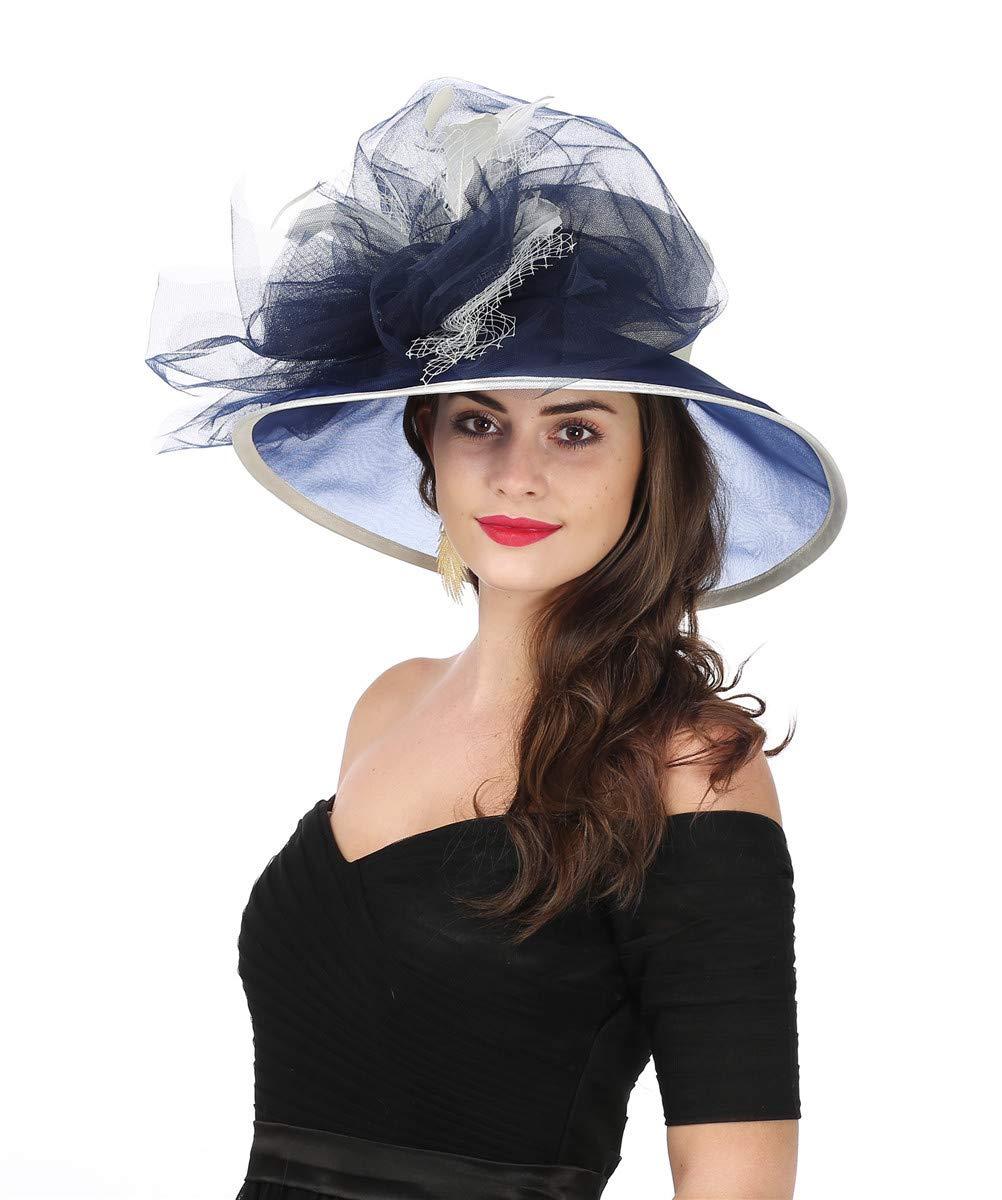 SAFERIN Women's Organza Church Kentucky Derby Fascinator Bridal Tea Party Wedding Hat (3120-Beige Navy New)