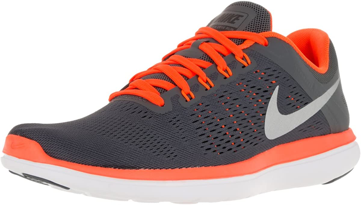 Nike Men Flex 2016 RN Running Shoes 12 D M US, Dark Grey Total Orange Black Metallic Silver