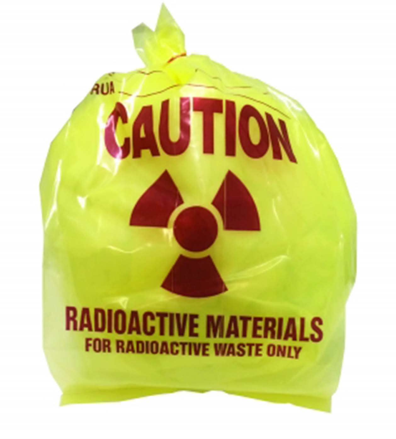 Radioactive Waste Disposal Bags, 3 Mil Thick, 11 x 11 x 30 Inches, Yellow Tint, Pre-Printed with Caution Message, 100 per Package