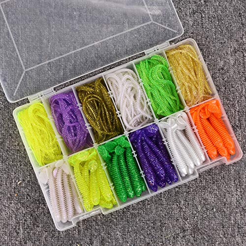 MAKEBASS 150pcs Soft Baits Set - 90pcs Bionic Earthworm Centipede Worm, 60pcs Paddle Tail Grub Silicone Artificial Bait for Saltwater Freshwater Bass Trout Walleye Salmon with Tackle Box
