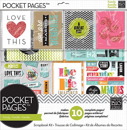 me & my BIG ideas Pocket Pages Scrapbook Page Kit, Family Time, 12-Inch by -
