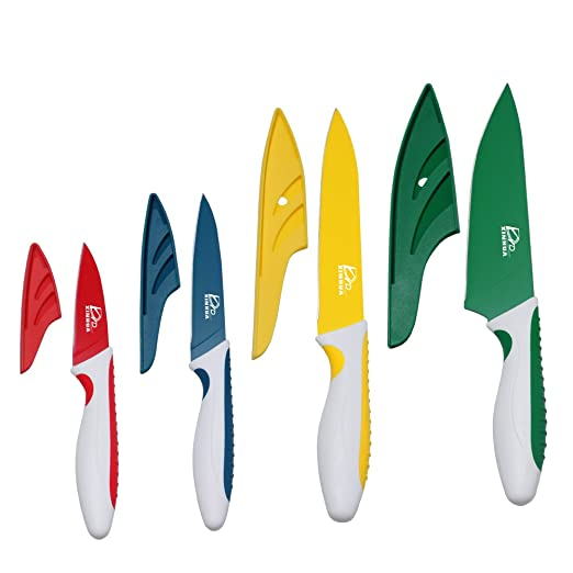 Amazon – Colorful Kitchen Knife Set 8 Piece – 4 Knives with ...