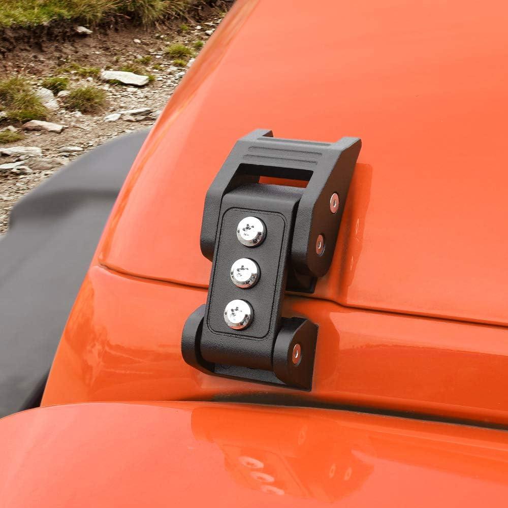 Voodonala for Jeep JK Black Stainless Steel Hood Catch Set for 2007-2018 Jeep Wrangler JK JKU