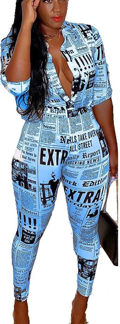 Amazon Com Sexy Club Trajes Para Mujer Dos Piezas Trajes Para Fiesta Noche Prensa Impresion Camisa Pantalones Largos Chandal Trajes Clothing