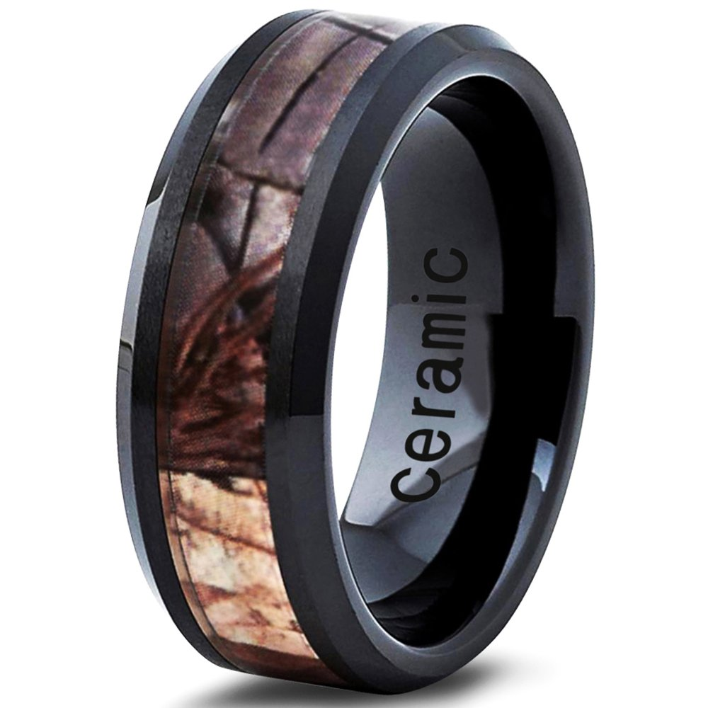 Ceramic Wedding Band Ring 8mm 6mm for Men Women Comfort Fit Camo Design Polished Bevel Edge FREE Custom Laser Engraving Lifetime Guarantee