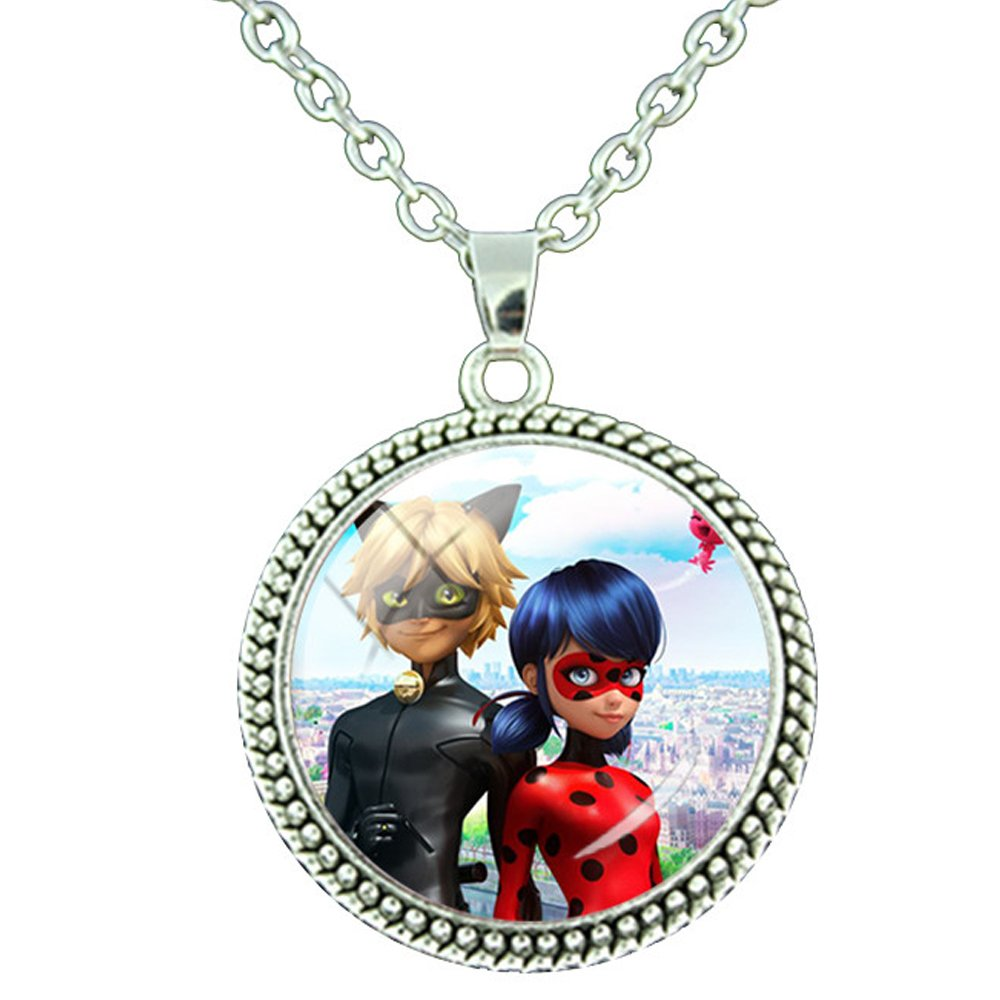 Miraculous Ladybug and Cat Noir Pendant Necklace Glass Gem with Silver Color Chain (Model 4) JLoisos Accessories