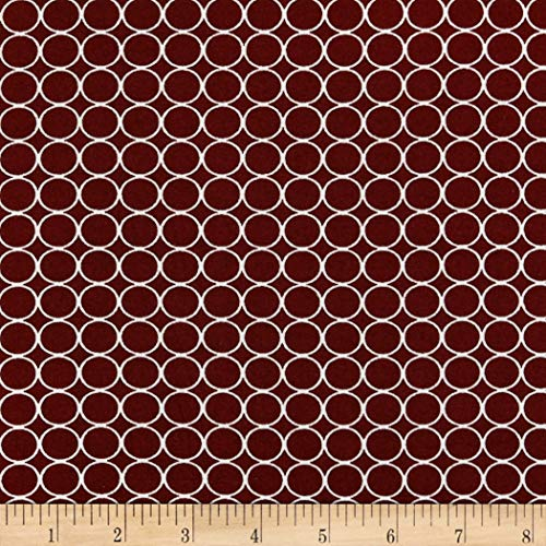 Fabric Double Brushed Poly Jersey Knit Small Circles Fabric, Wine, Fabric By The Yard