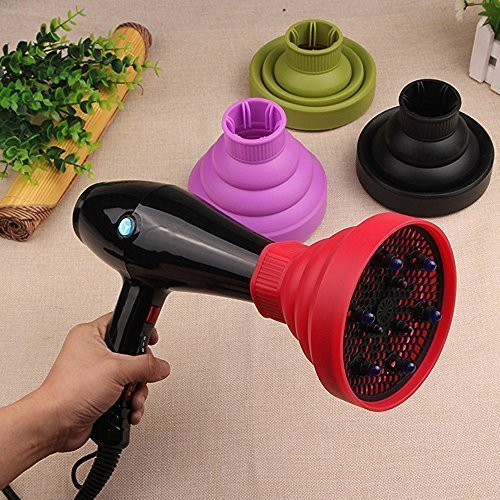 Hair Dryer Diffuser Silicone Drying Hood Cover Foldable Curly Hair Hairdressing Salon Styling Tool Doubtless Bay (red) by Doubtless Bay