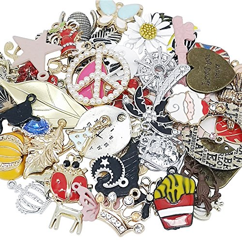 - Chenkou Craft Wholesale 50pcs Lots Mix Alloy Resin Rhinestone Flowers Pendants Charms Beads Bracelet Necklace Jewelry Findings-Halloween Christmas Mother's Day Valentine's Day (Random 50pcs)