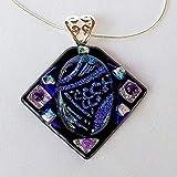 AMETHYST SEA JEWEL Purple Blue Silver dichroic fused glass jewelry pendant necklace
