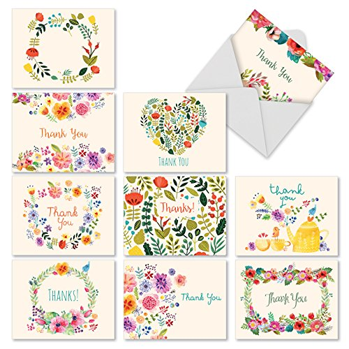 M2364TYG Grateful Greetings: 10 Assorted Thank You Note Cards Featuring Images of Sweet Floral Sprays Surrounding the Words Thank You, w/White Envelopes. (Twining Wide Leaf)