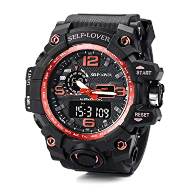 ... Wrist Watches 5ATM Water Resistant Outdoor Watch Under 10 on Sale on Clearance Military Quartz Watchs with Dual Display Rubber Strap Relojes De Hombre: ...