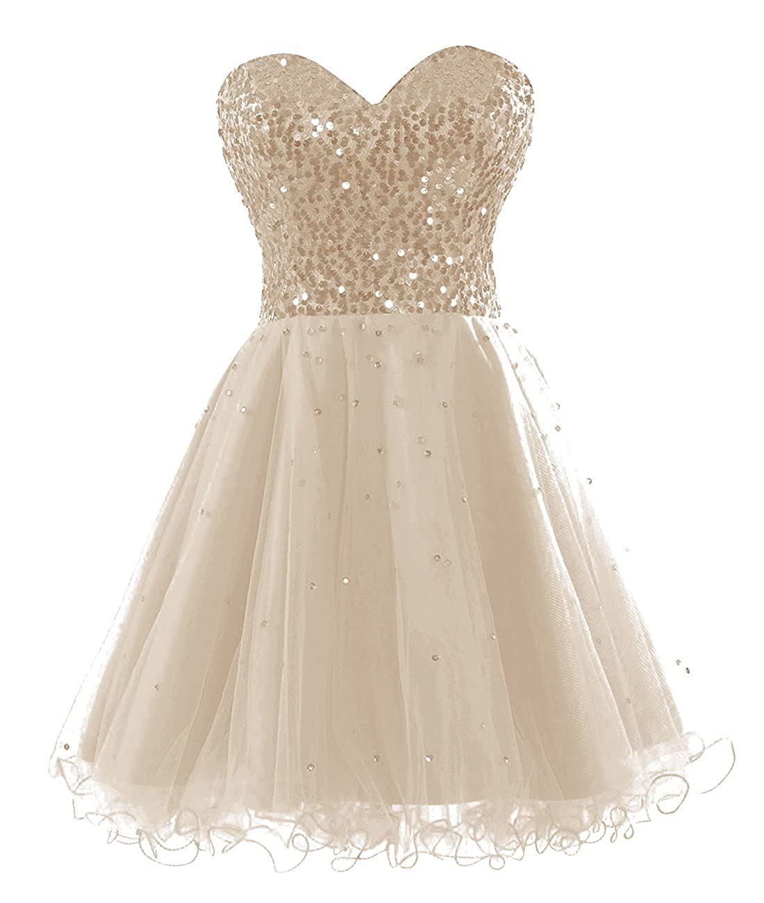 Champagne Bess Bridal Women's Sequined Lace Up Tulle Short Prom Homecoming Dresses