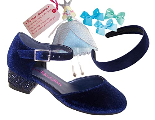 e08bba05c4b1 Girls Children Navy Blue Velvet Special Occasion Shoes with a Sparkly Blue  Glitter Low Heel Fair