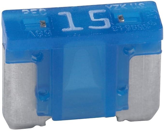 5 Pack Bussmann BP/ATM-15LP-RP Blue ATM Low-Profile 15 Amp Fast-Acting Automotive Mini Blade Fuses - 5 per Card