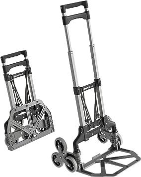ATHLON TOOLS Carretilla plegable de aluminio especial para escaleras | zona de carga con almohadillas antideslizantes | ruedas con bandas de rodadura suaves | incl. 2 cuerdas extensibles: Amazon.es: Bricolaje y herramientas