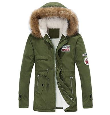 OUMIZHI Winter Baumwolle Herren Wintermantel mit Pelzkragen Kapuzenjacke  Outdoorjacke Winterjacke Warm Mantel 08dea0b1b3