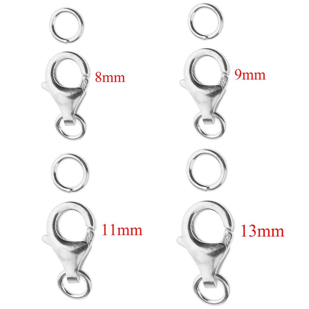 P Prettyia 2 Pieces 925 Sterling Silver Lobster Clasp DIY Jewelry Necklaces Connectors