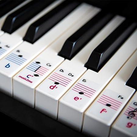 Pegatinas para piano y teclado, para 49/61/76/88 teclas, 2 octavas, 3 idiomas, lecturas de piano gratuitas