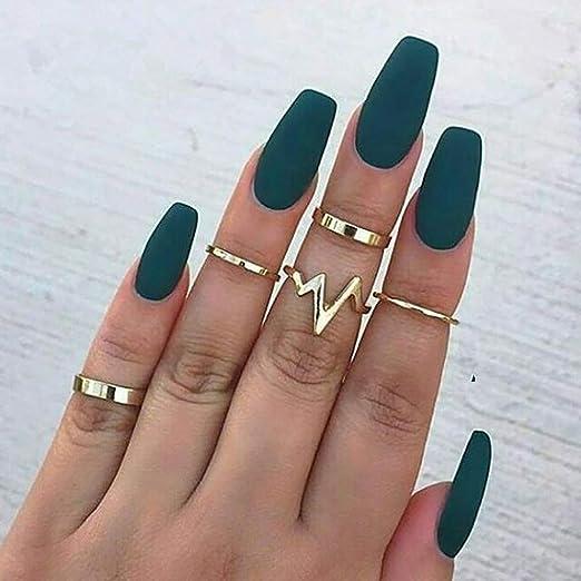 Amazon Com Fdesigner Coffin Matte False Nails Fashion Nude Fake Nails Acrylic Nail Art Accessories Long Press On Nails Artificial Nail Decoration French Fake Nail Tips For Women Dark Green Beauty