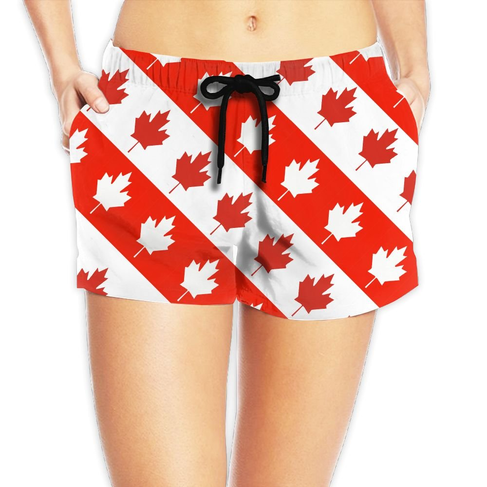 Red And Wihte Canada Maple Leaf Women Summer Casual High Waist Beach Shorts by Last Time