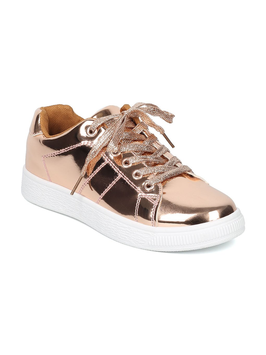 Indulge ANDI Women Mirror Metallic Lace up Low Top Sneaker HB96 B072MKW78J 5.5 M US|Rose Gold Metallic
