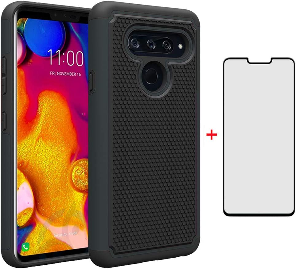 LG V40 ThinQ Phone Case with Tempered Glass Screen Protector Rugged Dual Layer Heavy Duty Full Body Rubber Cell Accessories Slim Hard Cover for LGV40 Storm V 40 Thin Q V40ThinQ 40ThinQ Women Girls Men