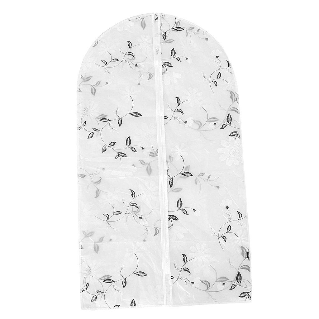 Sharplace Housse de Vêtements Transparente Imprimé Zip pour Vêtements Costumes Manteaux Jupes Robe - Fleur, 60×90cm 60×90cm