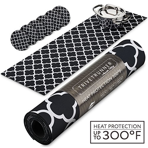 TRIVETRUNNER Black & White Set with Coasters (6 pcs) :Decorative Trivet and Kitchen Table Runners Handles Heat Up to 300F, Anti Slip, Waterproof, and Convenient for Hot Dishes and Pots