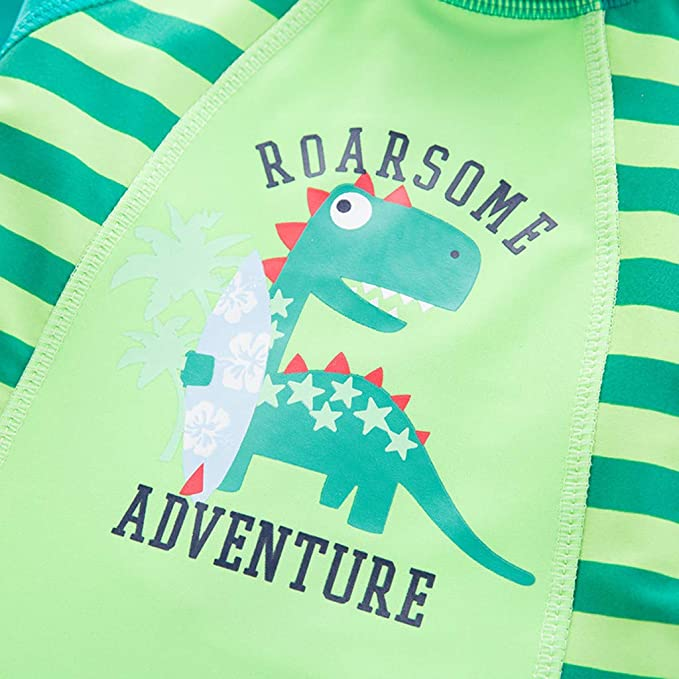 Hapae Baby Boys Swimsuits All-in-One Bathing Suit Swimwear Boys 2PC with Hats Dinosaur Printed Bikini Set Beach Costume