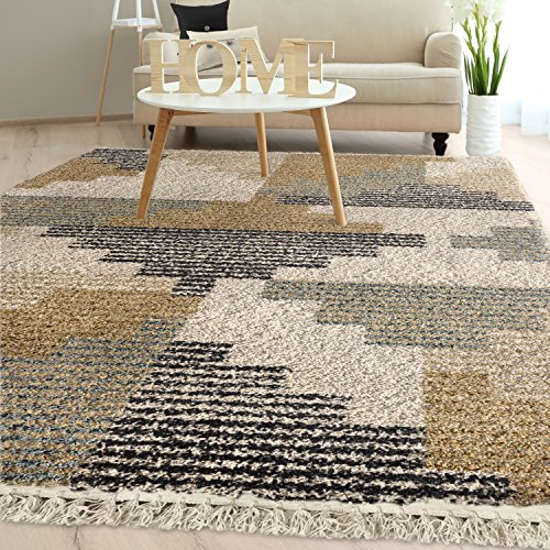 Orian Rugs Bedouin Collection 5009 Deco Block Area Rug with Fringe, 5'3