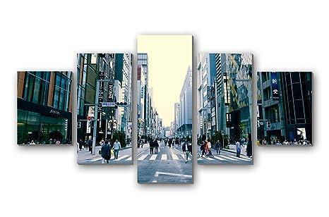 Amazon|日本東京都心部の建物街路の人々 , アートパネル 壁掛け