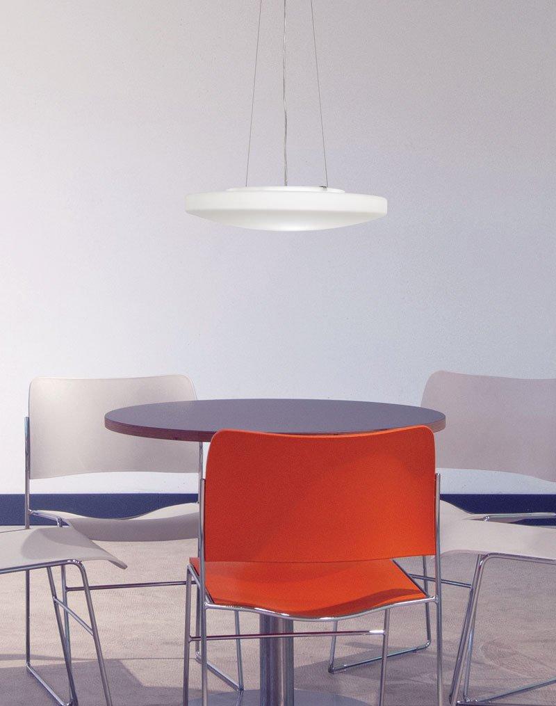 / LED Light Pendant Orion Brushed Steel Finish Opal Glass Shade