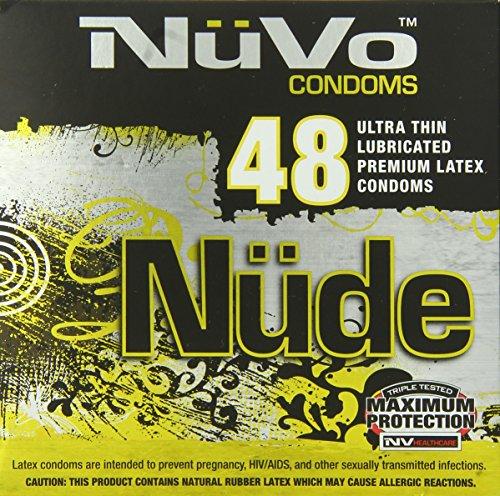 Nuvo Condoms Nude Ultra Thin Lubricated Premium Latex Condoms,48-count