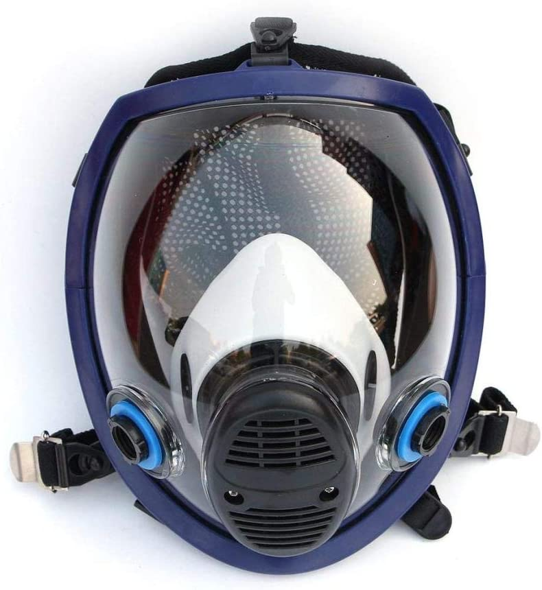 Mascarilla facial para toda la cara Ligero contra gas ácido Polvo Protección respiratoria Spray de pesticidas Filtro de silicona Mascarilla (Negro)