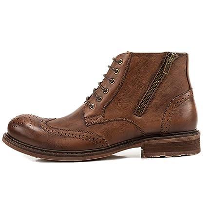 MERRYHE Botines para Hombre Botines De Cuero Genuino con Cordones Martin Boot Zapatos De Trabajo Casuales