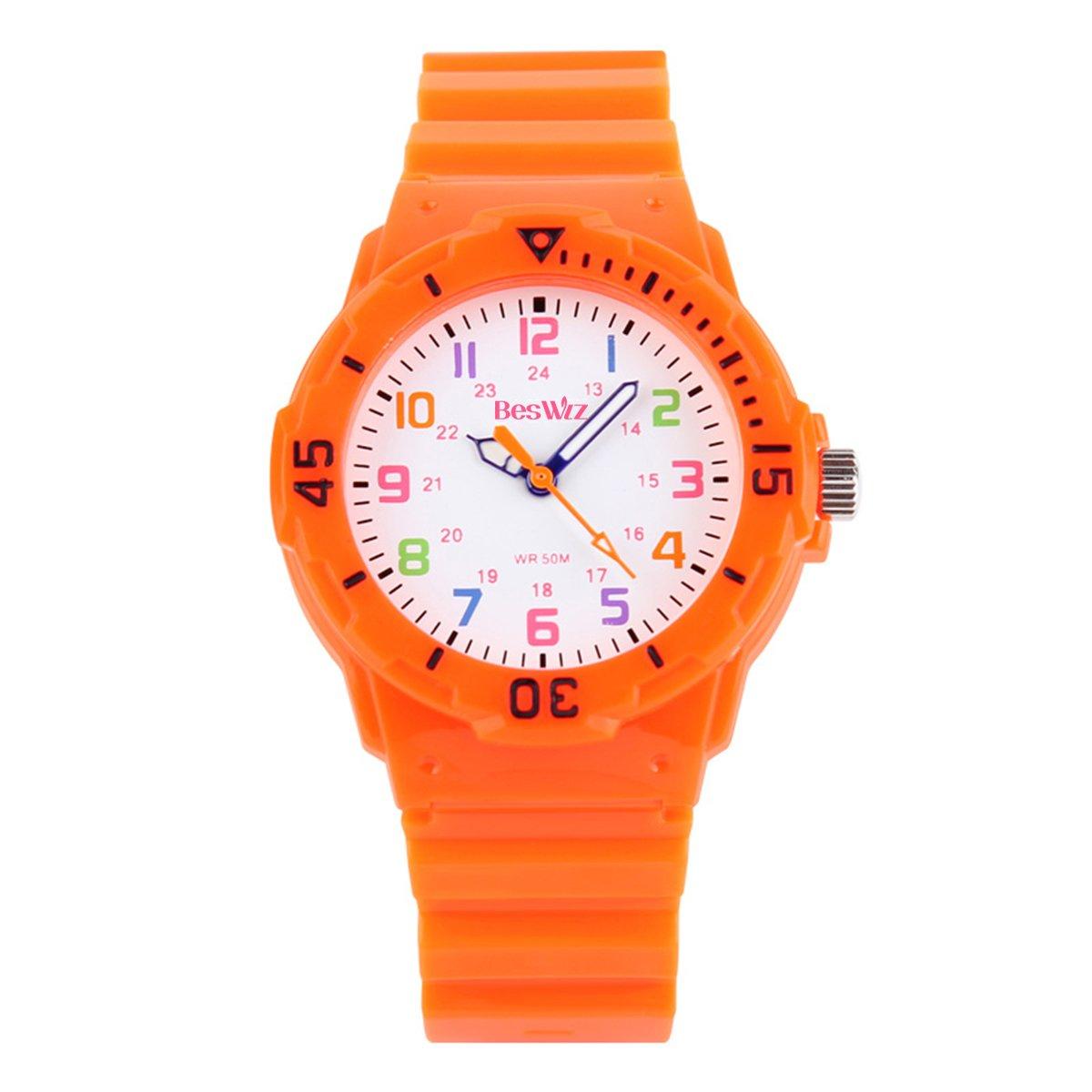 Kids Watches 50M Daily Waterproof Time Teacher Children Girly Boys Wrist Watch Orange