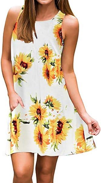 Semir Damen Kleid Im Bohemian Stil Damast Tunika Top Lassiger Blumendruck Midi Kleid Mit Tasche Gelb Gross Amazon De Bekleidung