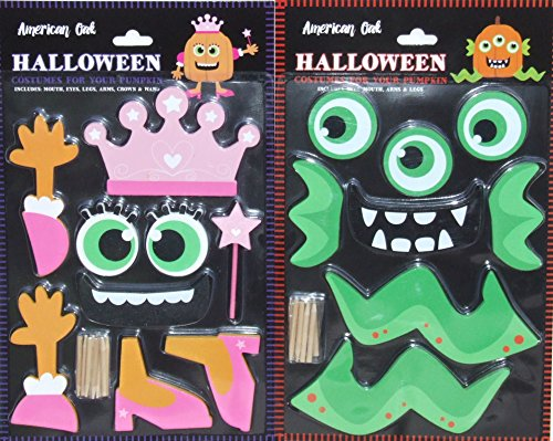 Pumpkin Decor Kit Push In No Carving for Fall Halloween Thanksgiving 2pk (Princess / Monster)