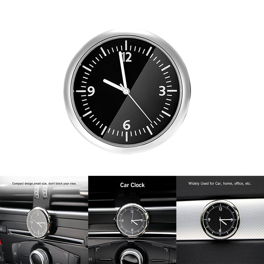 Car Clock Car Dashboard Small Round Analog Quartz Clock Stick-On Clock Car Ornaments Accessories AOZBZ