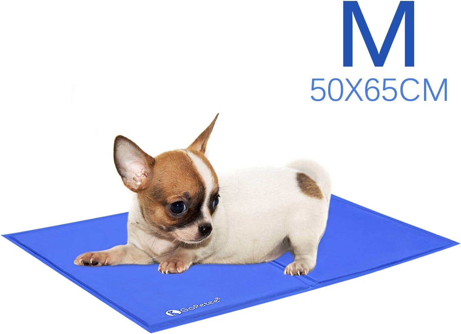 GoPetee Alfombrilla de Refrigeración para Mascotas Cama de Perro y Gato para Verano Animales Manta de Dormir Fresco Cojín (M 65 x 50 cm, Azul)