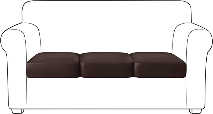 Yates Home PU Leather Couch Sofa Cushion Slipcover Water-Proof Elastic Chair RV Seat Covers Loveseat Sofa Furniture Protector Slip Cover for Settee Seater Replacement Living Room(3 Pieces, Chocolate)