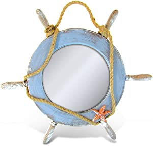 Puzzled Pacific Mirror Wooden Boat Wheel with Starfish & Rope Sculpture Decorative Intricate & Meticulous Detailing Wood Art Figurine Handcrafted Figure Wall Nautical Coastal Themed Home Accent Décor