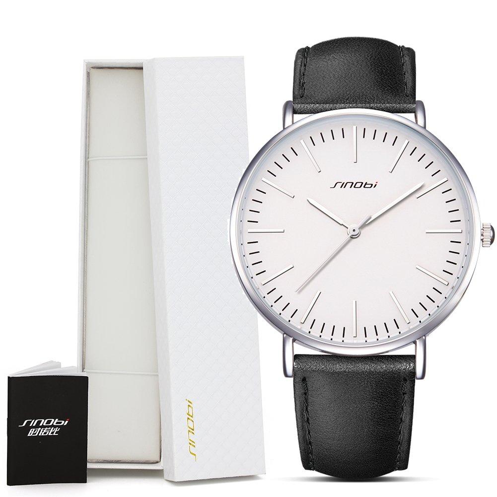 Amazon.com: SINOBI Men Women Simple Wristwatch Ultra Thin Case Leather Strap Minimalism Women Watch reloj de pulsera: Watches